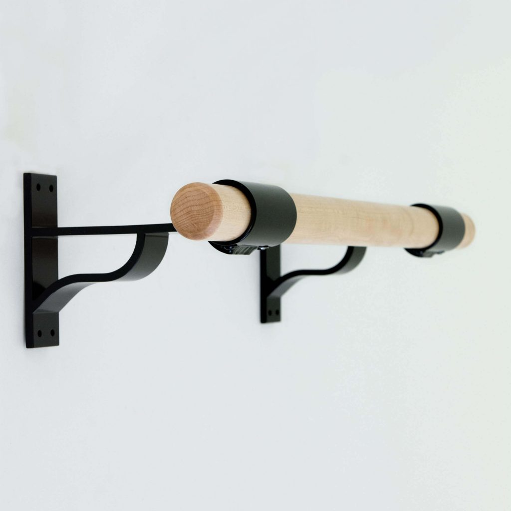black wall mount fitness bracket wood barre